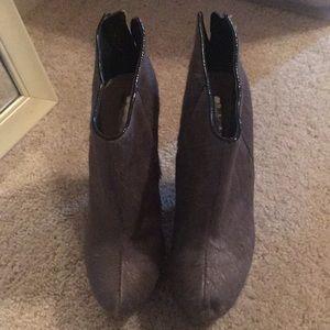 Grey calf hair booties